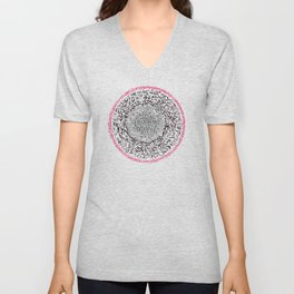 A Pink Result of the Dance, asemic calligraphy for home decoration Unisex V-Neck