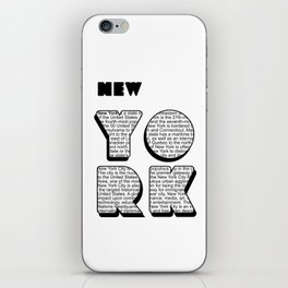New York in writing iPhone Skin