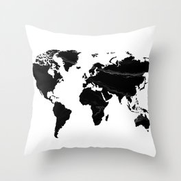 World map, Marble, Scandinavian, Modern art, Art, Minimal, Wall art Print Throw Pillow