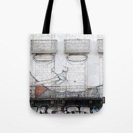 The facade's face, graffiti Tote Bag