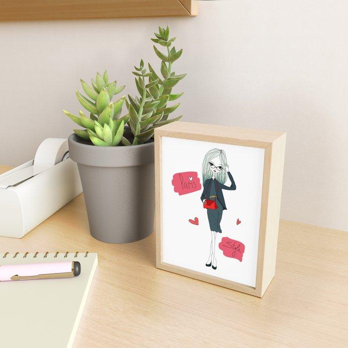Stylish Parisian girl Framed Mini Art Print