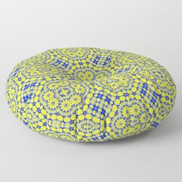 Blue and gold mosaic pattern Floor Pillow