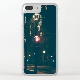 Red Light In Oslo Clear iPhone Case