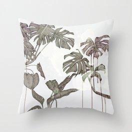 Foliage grey Throw Pillow