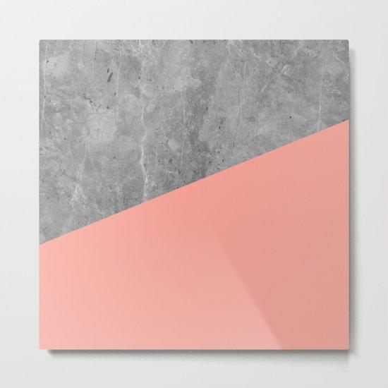 Coral Pink Concrete Metal Print