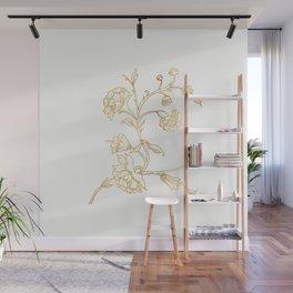 Golden Flower on White Background Wall Mural