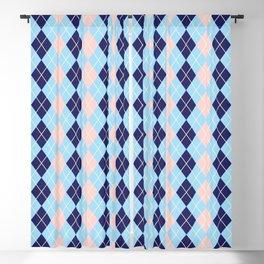 Schoolgirl Blue And Pink Argyle Blackout Curtain