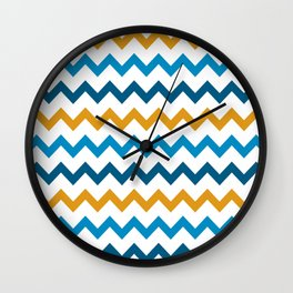 Goldenrod Cerulean Aegean Blue Chevron Wall Clock