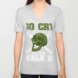 "Great Cooking Design For Chef T-shirt Design ""Go Cry In The Walk In"" Fork Knife Fork Kitchen Dessert Unisex V-Neck"
