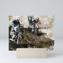 """Dare to Race"" Motocross Dirt-Bike Racers Mini Art Print"