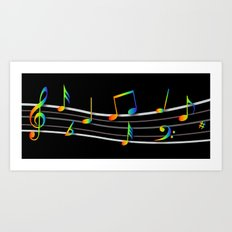 Rainbow Music Notes on Black Art Print