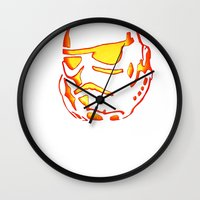 storm trooper Wall Clocks featuring Storm trooper  by luccabanana