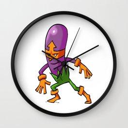 Purple Eggplant Hero Foodietoon Veggie Superheroes Wall Clock
