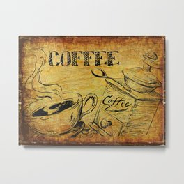Distressed Cafe Coffee Sign Metal Print