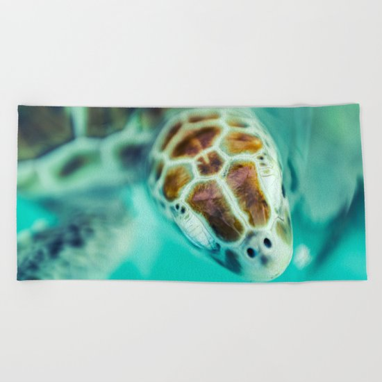 Cute Little Sea Turtle Beach Towel
