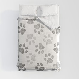 Black and grey paw print pattern Comforters