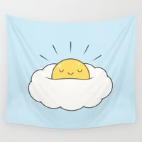 baking Wall Tapestries featuring Sunny breakfast egg cloud  by kim vervuurt
