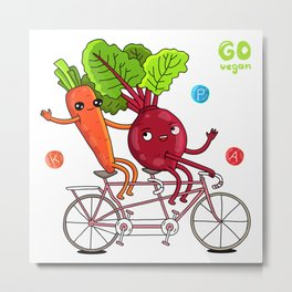 Carrot and Beet Riding a Bicycle Metal Print
