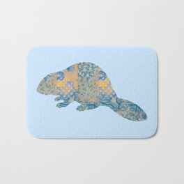 Beaver Vintage Floral Pattern Rustic Country Shabby Chic Blue Yellow Orange Grey Bath Mat