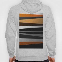 Metallic II - Abstract, geometric, metallic effect stripes, gold, silver, black Hoody