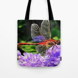 Red Dragonfly on Violet Purple Flowers Tote Bag