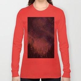 Galaxy Watercolor Space Night Sky Nebula Painting Aurora Long Sleeve T-shirt