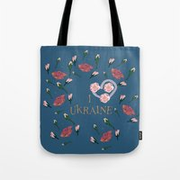 ukraine Tote Bags featuring love UKRAINE by luiza13