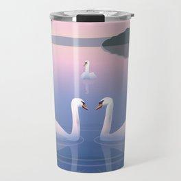 Swimming Swans on the Lake Travel Mug