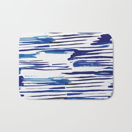Shibori Paint Vivid Indigo Blue and White Bath Mat