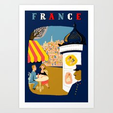 Vintage France Sidewalk Cafe Travel Art Print