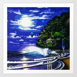 Tardis Art And The Moon Shine Art Print