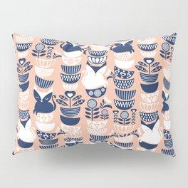 Swedish folk cats V // flesh background Pillow Sham