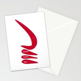 Peace Love War   AKOBEN   West African War Horn in Warrior Red Stationery Cards