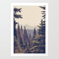 adventure Art Prints featuring Mountains through the Trees by Kurt Rahn