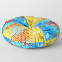 Birds of Paradise Retro Floral Blue and Gold Floor Pillow
