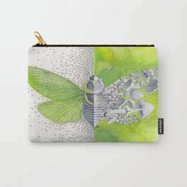 Green Cicada / Mushroom Watercolor Painting Carry-All Pouch