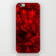 Butterfly and fractal in black and blood red iPhone Skin