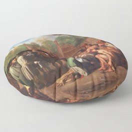 Classical Masterpiece 'The Treaty of Penn with the Indians' by Benjamin West Floor Pillow