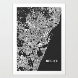 Recife, Brazil street map Art Print