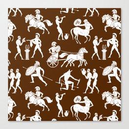 Greek Figures // Brown Canvas Print