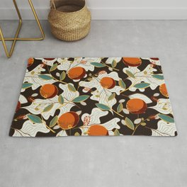Polka dots flower - Colorful orange, blue, yellow, brown Rug