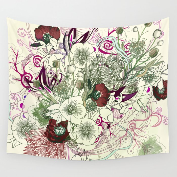 Zentangle Floral mix II Wall Tapestry