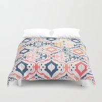damask Duvet Covers featuring Tropical Ikat Damask by micklyn