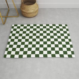 Large Dark Forest Green and White Check Squares Rug