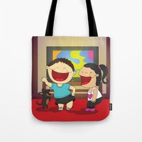 dancing Tote Bags featuring Dancing! by LesliePinto