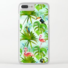 Tropical green pink colorful birds watercolor floral Clear iPhone Case