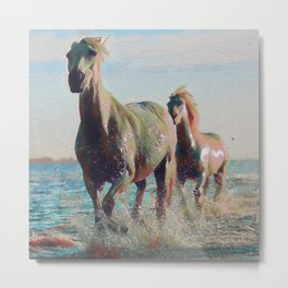 White Horses At The Beach III Metal Print