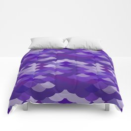 Ultra Violet wave, abstract simple background with japanese seigaiha circle pattern Comforters
