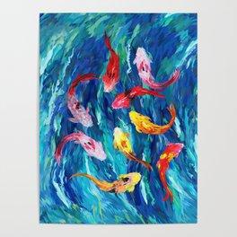 Koi fish rainbow abstract paintings Poster