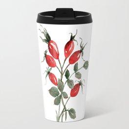Watercolor Rosehips Travel Mug